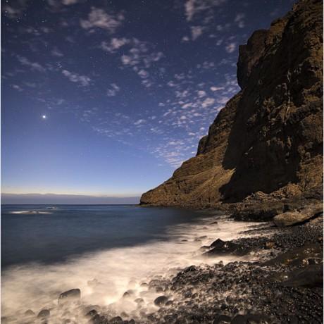 Moonlight on a hidden bay, La Gomera, 04-2015.