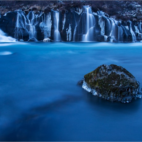 Blue Hour at Hraunfossar, Iceland